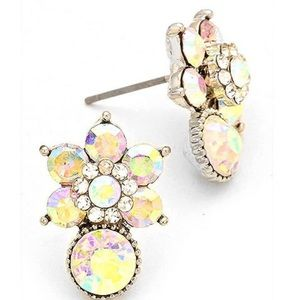 Aurora Borealis Crystal Flower Post Earring, NWT